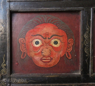 Rare 18th Century Tibetan Buddhist Painted Altar Cabinet