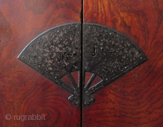 Rare Antique Japanese Solid Keyaki Burl Fan Lock Tansu