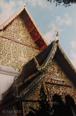 Antique Thai Chofa Temple Roof Adornment