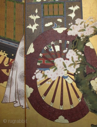 18th Century Japanese 6-panel Gosho-Guruma Carriage Screen