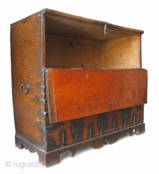 Antique Korean Bandaji (Blanket Storage Trunk)  Antique Korean bandaji (blanket storage trunk), made of beautifully rough hewn wood. A single door is hinged horizontally and opens downward to reveal a large compartment for  ...