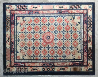 "No.R160 * Chinese Antique Rug ""Lotus Medallion"",Age: Late 19th Century, Size:183x235cm (6'x7'9""). Origin: Baotou-Suiyuan.Shape: Rectangle.Background Color: Off-whites,lvory."