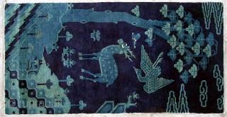 """No.R071 * Chinese Antique """"Deer + Crane"""" Rug,Size: 78x153cm(31""""x60"""").Age: 19th Century. Origin: Baotou.Shape: Rectangle.Background Color: Blues."""
