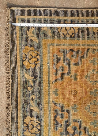 """No.A0044 * Chinese Ningxia Rugs. Age:18/19th Century.Size:69x128cm (27""""x50""""). All vegetable dyes. Origin: Ningxia Shape:Rectangle, Background Color: Yellows."""