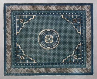 """No.D010 * Chinese Antique Rug """"Coin Design"""" . Age: 19th Century. Size: 153x188cm(5'x6'2"""") Origin: Baotou-Suiyuan Shape: Rectangle.  Background Color: Whites and Blues. This grand and elegant large carpet has a beautiful  ..."""