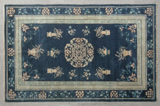 "No.D011 * Chinese Antique ""Old Peking"" Rug . Age: Mid-19th Century Size: 146x236cm(4 ' 10 ""x7 ' 9 "")  Origin: Beijing Shape: Rectangle. Background Color: Blues, This regal blue carpet has  ..."