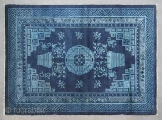 "No.R145 * Chinese Antique Rug ,Origin: Baotou-Suiyuan. Age: 19th Century. Size: 135x182cm(4'5""x6').Shape: Rectangle . Background Color: Blues."