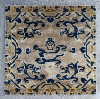 """No.CL055 * Chinese Antique Ningxia Rugs-Mat """"Five Dragons"""" from Tibet. Size:73x74cm(29""""x29""""). Age:Early 19th Century Origin:Ningxia. Shape:Square. Background Color:Wood Reds.All vegetable dyes."""
