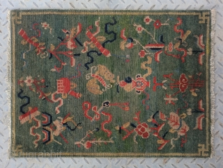"No.R120 * Tibetan Antique ""Eight Treasure Pattern"" Rug/Mat.Size:57x71cm(22x28""). Origin: Tibet. Shape: Rectangle.Background Color: Greens.cotton/wool."