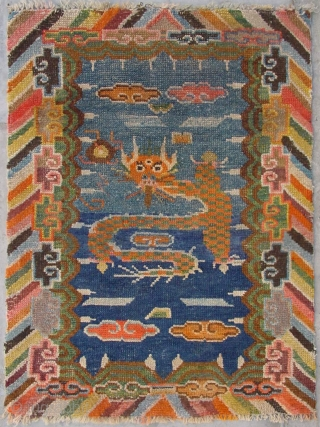 "No.CL064 * Tibetan ""Single Dragon"" Prayer Mat-Rug ,Late 19th Century. wool/wool. Origin: Tibet Shape: Rectangle. Size: 50x85cm(1'6""x2'9"").  Background Color: Blues"