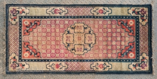 """No.A0048 * Chinese Antique """"Chrysanthemum"""" Rug, Origin: Baotou-Suiyuan.Late 19th Century.Size:68x138cm(27""""x54"""") . Shape: Rectangle .Background Color:Reds."""