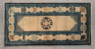 """No.X3169 * Chinese Antique Old Beijing Rug . Origin: Beijing. Shape: Rectangle Age:19th Century.Size: 71x139cm(28""""x55"""") . Background Color: Off-whites,lvory. All vegetable dyed. Good condition."""