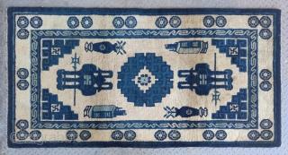 "No.D002 * Chinese Antique Rug ,Origin: Baotou. Age: Late 19th Century.Size: 90x174cm(2'11""x5'9"").Shape: Rectangle.Background Color: Whites"