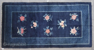 "No.L91 * Chinese Antique ""Flowers Design"" Rug,Size: 94x179cm(37""x70"").Age: 19th Century. Origin: Baotou.Shape: Rectangle.Background Color: Blues."