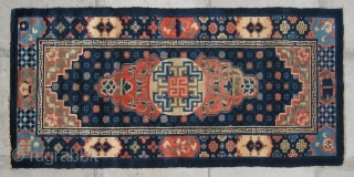 """No.R156 * Chinese Antique """"Medallion"""" Rug , Age:Late 19th Century.Size:75x152cm(2'6""""x5'). Origin:Baotou-Suiyuan. Shape:Rectangle.Background Color:Blues. This beautiful carpet from inner Mongolian features an interesting centre field design composed of a central medallion with a modified  ..."""