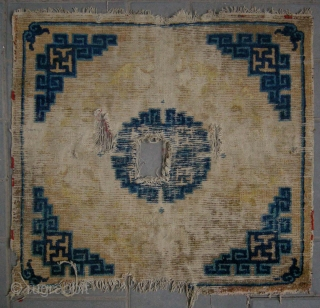 "No.D8954 * Chinese Ningxia Square Mat(Fragments). Age: 18th Century.Size: 70x74cm (28""x29"") Origin: Ningxia Shape: Square .  All vegetable dyes."