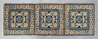 """No.R166 * Chinese Ningxia Temple Mat-Rugs(Runner) from Tibet.  Origin:Ningxia. Age:19th Century. Size:60x174cm(2'x5'9""""). Shape:Rectangle. Background Color: Yellow and Blues."""