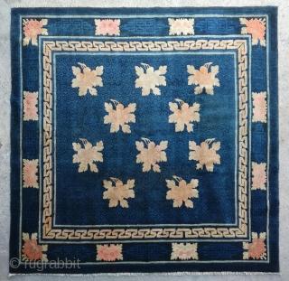 "No.R157 * Chinese Antique ""Peony Flowers"" Rug ,Origin: Baotou.Age: 19th Century. Size: 179x180cm(5'10""x5'11"").Shape:Square. Background Color:Blues."