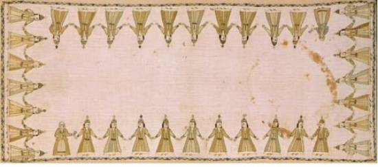 Embroidery representing a women's dance. Characteristic features of the women's dress are the kavadi (a kind of dress-coat), the buckle of the belt and the tall head-dress, typical of the Epirot town costume. Among the dancers are two women wearing peasant costumes and holding a flower. From Epiros. Early 19th c. 0.47x1.15 m. (ΓΕ 12952) Image and text copyright Benami Museum