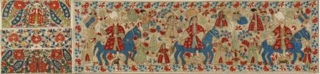 Bridal cushion with wedding scene. It depicts the mounted procession of the groom. The riotous floral ornaments, the attractive multi-coloured scenes, and the harmonious execution of the compositions with their distinctly painterly qualities are, from every point of view, characteristic of Epirot embroidery. From Ioannina in Epiros, 18th c. 0.40x1.40 m. Gift of Helen Stathatos. (ΓΕ 21172), Image and text copyright Benaki Museum