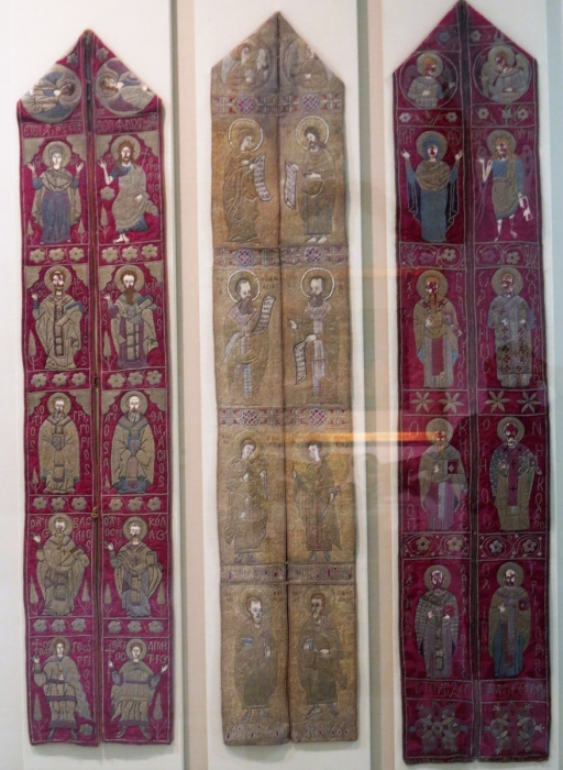 Gold-embroidered epitrachilion (stole) x3, The two red ground pieces are late 16th cen. the white is 17th, Benaki Museum