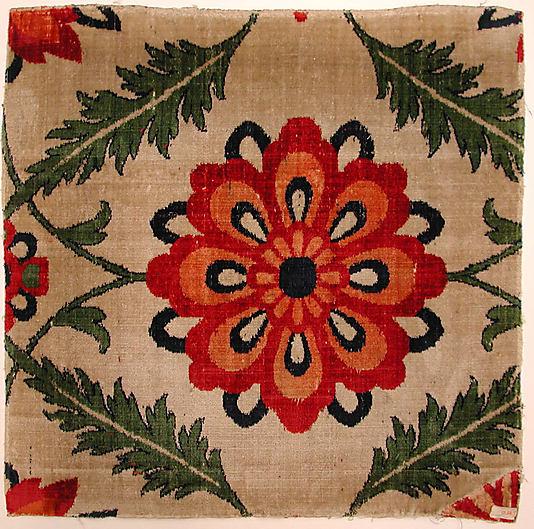 Mughal velvet Carpet fragment